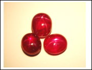Three pieces of Burmese star rubies with weight range from 3.95 to 2.69 carats (photo by Tay)